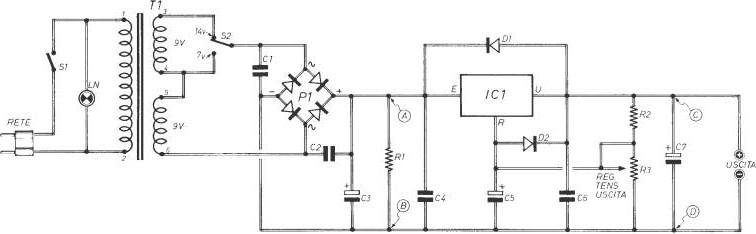 Schema Elettrico Alimentatore : Schema elettrico alimentatore stabilizzato regolabile
